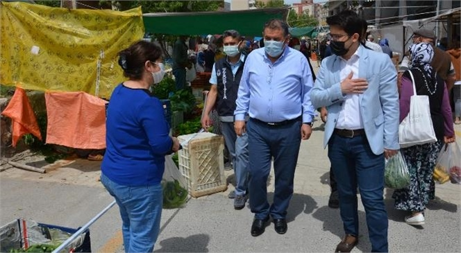 Gülnar Kaymakamı Yunus Emre Bayraklı ve Belediye Başkanı Alpaslan Ünüvar Halk Pazarını ve Esnafları Ziyaret Ettiler