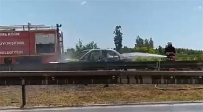 Tarsus Keloğlu Köprüsü Civarında Çıkan Araç Yangını Mersin Büyükşehir İtfaiye Ekiplerince Söndürüldü
