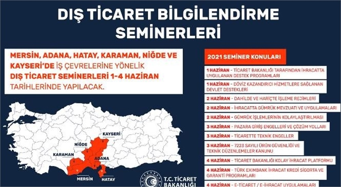 Dış Ticaret Bilgilendirme Seminerleri, 1-4 Haziran 2021 Tarihlerinde Mersin, Adana, Hatay, Karaman, Niğde ve Kayseri'de Online Olarak Devam Ediyor