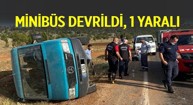 Mersin'in Gülnar İlçesinde Devrilen Minibüsteki 1 Kişi Yaralandı