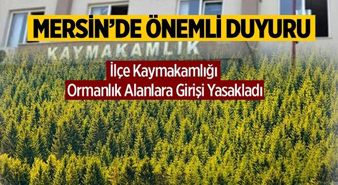 Mersin'de İlçe Kaymakamlığı Duyurdu! 15 Gün Boyunca Yetkililer Haricinde Ormanlık Alanlara Girilemeyecek