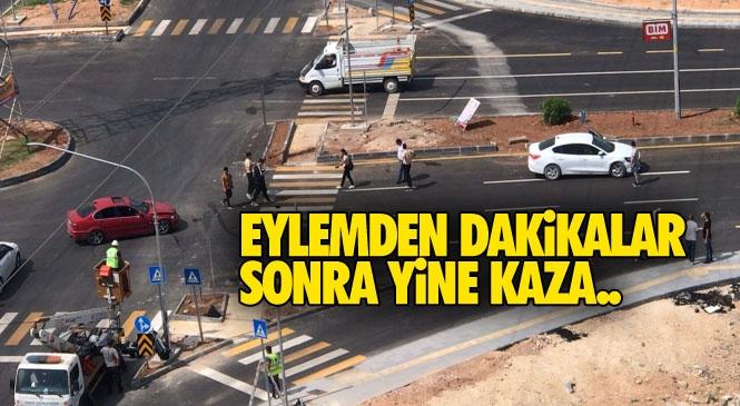 """Mersin'de """"Kavşak Eylemi''nin Ardından Diğer Kavşakta Kaza Yaşandı! Trafik Işıkları Yerleştiriliyor"""