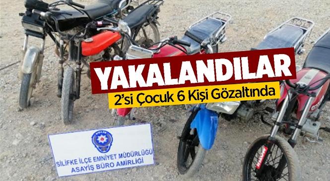 Mersin'in Silifke İlçesinde Motosiklet Hırsızları Yakalandı! 2'si Çocuk 6 Kişi Gözaltında