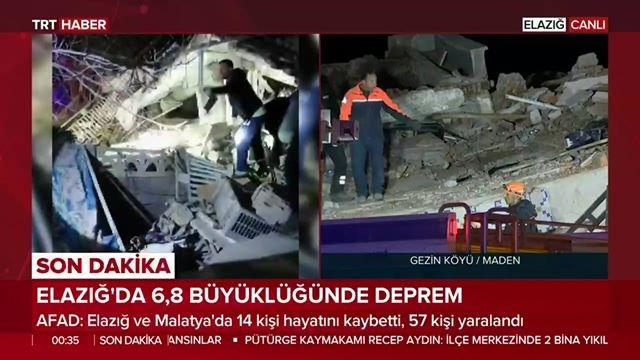 Merkez Üssü Elazığ Sivrice Olan 6,8 Büyüklüğünde Depremin Ardından TRT Canlı Yayın