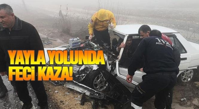 Mersin'in Çamlıyayla - Tarsus İlçeleri Arasındaki Yolda Feci Kaza Yaralılar Var